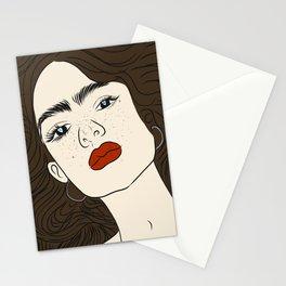 La mujer con labios rojos Stationery Cards