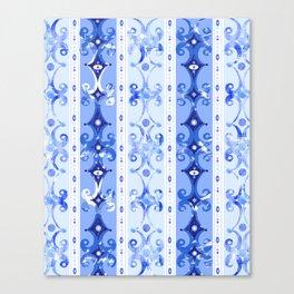 Blue Geometric Scrollwork Canvas Print