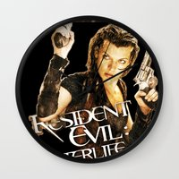 resident evil Wall Clocks featuring Milla Jovovich Resident Evil Afterlife by f3mal3s