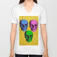 damask V-neck T-shirts featuring 3 Damask skulls. on damask. by Drew Mandigo