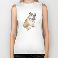 bulldog Biker Tanks featuring bulldog  by Laura Graves