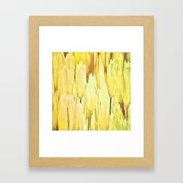 Pale Yellow Tulips Abstract Floral Pattern Framed Art Print