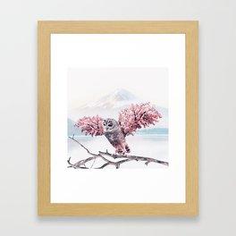 Sakura Owl Framed Art Print