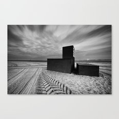 Three Locked Boxes on a Groomed Beach Before Dawn Canvas Print