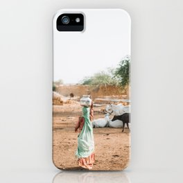 Woman Carrying Water in Village in Rajasthan, India | Travel Photography iPhone Case