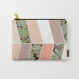 Pink Herringbone #society6 #pink #succulent Carry-All Pouch