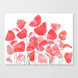 abstract red poppy field watercolor Canvas Print