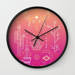 Santa Fe Garden – Pink Sunset Wall Clock