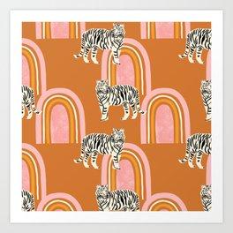 Tigers and rainbows - terracotta Art Print