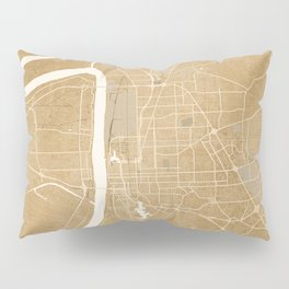 Vintage map of Baton Rouge Louisiana in sepia Pillow Sham