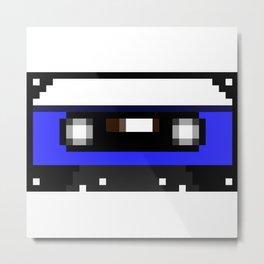 Blue Cassette Metal Print