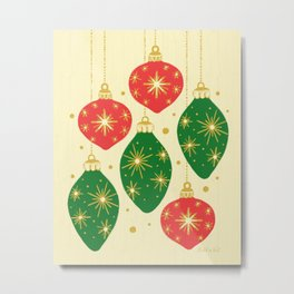 Vintage Festive Hand-painted Christmas Tree Ornaments with Beautiful Acrylic Texture, Green and Red Metal Print