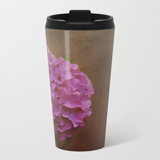 Pink hydrangea with a touch of blue Metal Travel Mug