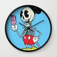mickey Wall Clocks featuring Mickey Bones by Alejandro Giraldo