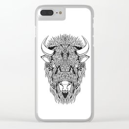 BISON head. psychedelic / zentangle style Clear iPhone Case