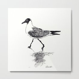 Black and White Seagull Metal Print
