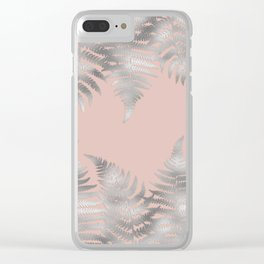 Silver fern leaves on rosegold background - abstract pattern Clear iPhone Case