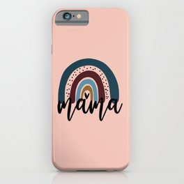 Rainbow Mama To Be Retro Rainbow Baby Gift For New Mom Retro Vintage Rainbow Design Blue Rainbow Gra iPhone Case