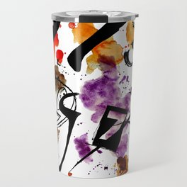 Typographic Number illustrations, watercolor,  3,4,5,7,9 by carographic Travel Mug