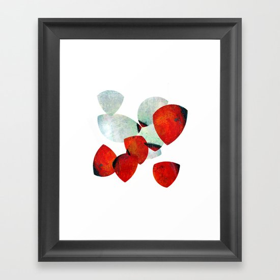 composition in red and grey Framed Art Print