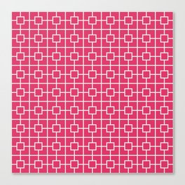 Cerise Pink Square Chain Pattern Canvas Print