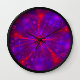 Valentine's Day | Romantic Galaxy | Universe of red, blue, purple hearts Wall Clock