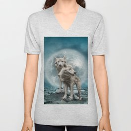 Wolves and Moon Unisex V-Neck