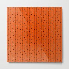 Christmas Baubles on Festive Tinsel Streamers Orange Metal Print