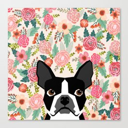 Boston Terrier floral dog head cute pet portrait gifts for boston terriers must haves Canvas Print