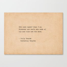 Typewriter Emily Bronte Our Souls are Made of Canvas Print