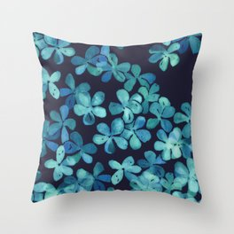 Hand Painted Floral Pattern in Teal & Navy Blue Throw Pillow