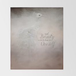 Real Beauty is to be True To Oneself White Peacock Throw Blanket