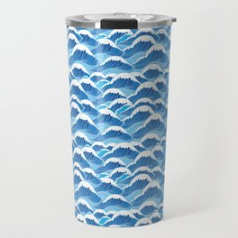 graphic pattern blue sea waves vector illustration Travel Mug