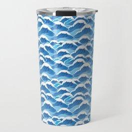 graphic pattern blue sea waves vector illustration Travel Mug