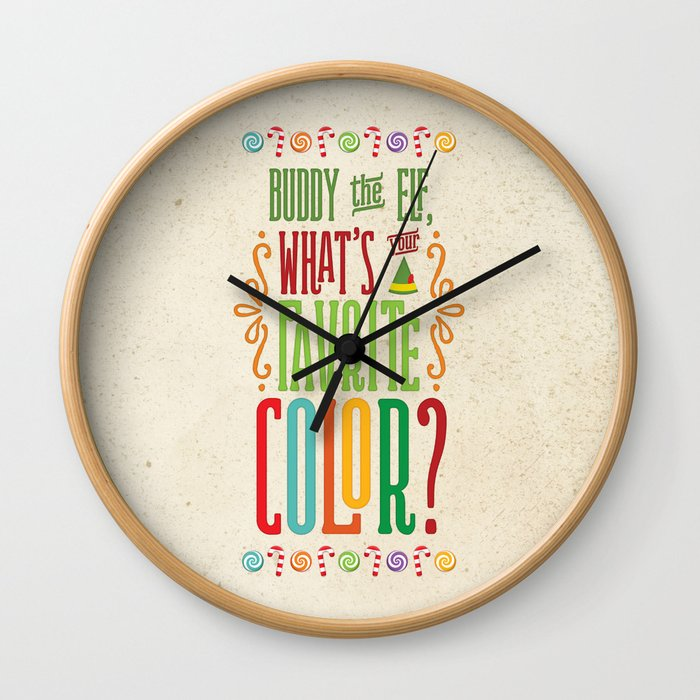 Buddy the Elf, What's Your Favorite Color? Wall Clock