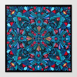 Pink, light blue floral mandala on black Canvas Print