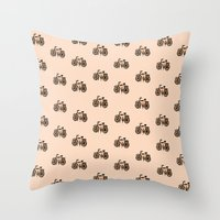 bikes Throw Pillows featuring Bikes by andy_panda_