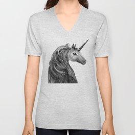 Unicorn, black and white Unisex V-Neck