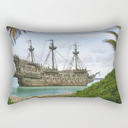 Pirate ship in the Caribbean Rectangular Pillow