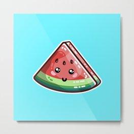 Kawaii Cute Watermelon Piece Metal Print