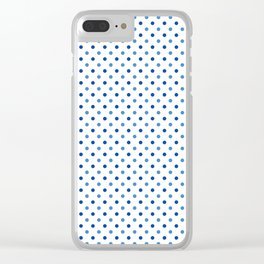 Geometrical trendy navy blue white polka dots pattern Clear iPhone Case