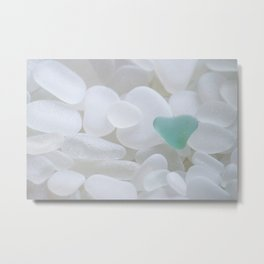Japanese Teal Sea Glass Heart Metal Print