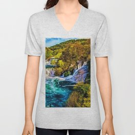 Beautiful Skradinski Buk Waterfalls Croatian Landscape Unisex V-Neck
