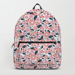 Blush Berry Geometric Floral Backpack