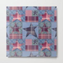Blue denim plaid patchwork . Metal Print