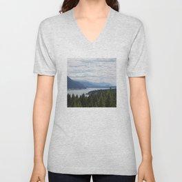 Rocky Mountain lake Unisex V-Neck