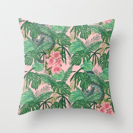 Serpents and Flowers Throw Pillow