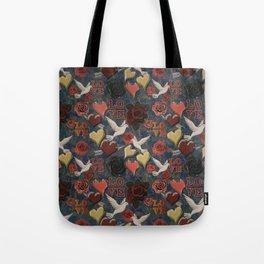 LOVE Vintage Pattern Tote Bag