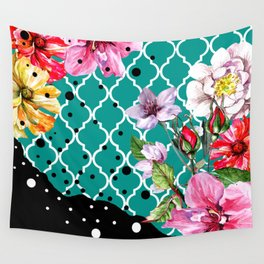 FLORA BRAZILICA | teal yellow black Wall Tapestry