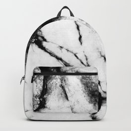 White Marble Concrete Look Mint Green Geometric Squares Backpack